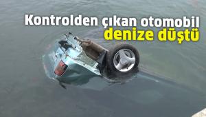 Silivri'de kontrolden çıkan otomobil denize düştü