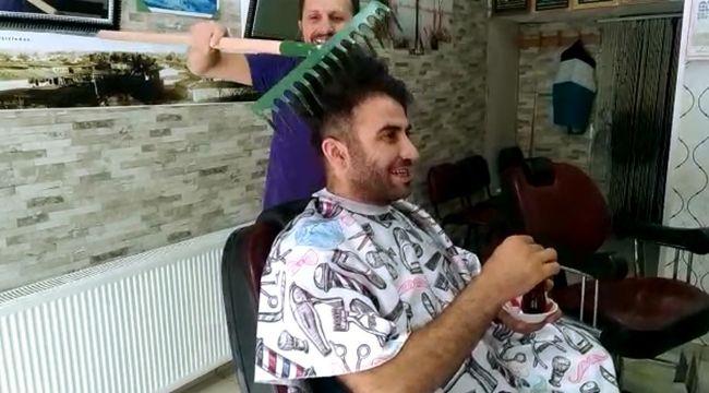 Silivrili kuaförden ilginç saç tıraşı