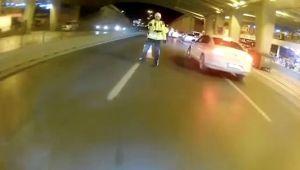 Polisin üzerine sürüp kaçtı