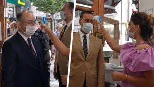 Kaymakam Özel ve Başkan Yılmaz maske denetimi yaptı
