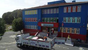 Belediyeden okullara temizlik malzemesi desteği