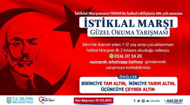 Silivri belediyesi istiklal marşı okuma yarışması düzenliyor